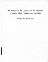 Analysis of the Literature on the Education of the Negro Gifted Children from 1940-1950