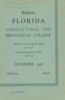Bulletin of the Florida Agricultural and Mechanical College, Annual catalogue issue 1947-1948; Announcements for 1948-1949