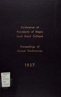 Proceedings of the ... annual conference of the Presidents of Negro Land Grant Colleges. (1937).