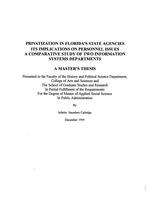 Privatization in Florida's state agencies : Its implications on personnel issues : A comparative study of two information systems departments