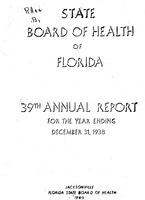 Annual report - State Board of Health, State of Florida. Vol. 39 (1938)